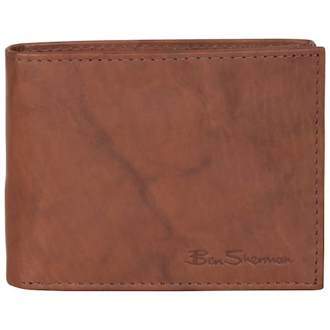 Ben Sherman Full-Grain Marble Crunch Leather Passcase Anti-Theft RFID Wallet - Multiple Colors