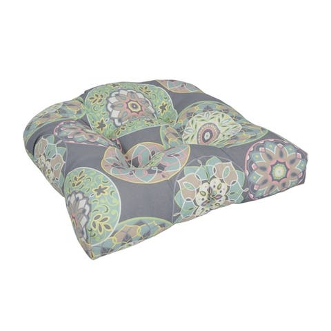 19-inch U-Shaped Spun Polyester Outdoor Tufted Dining Chair Cushion