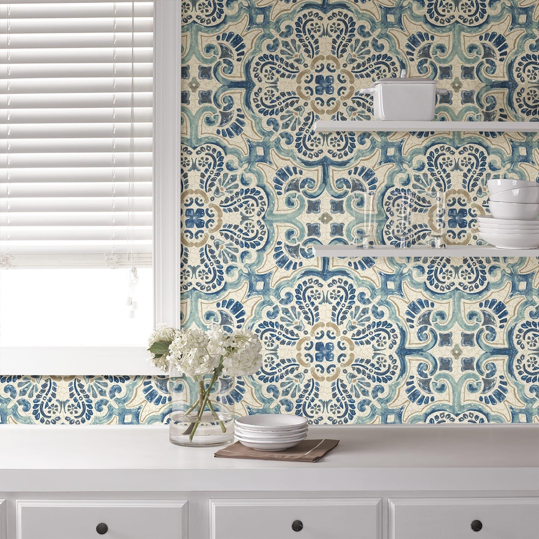 Dublin Blue Florentine Tile Peel Stick Wallpaper Overstock 30979276