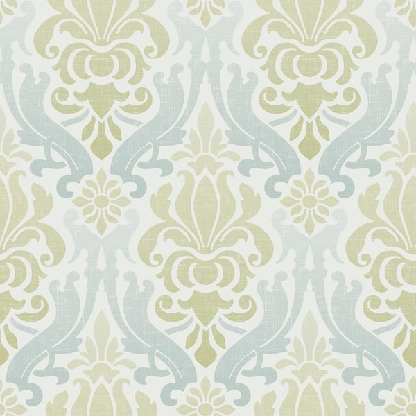Shop Atwater Blue And Green Nouveau Damask Peel Stick Wallpaper Overstock 30979285