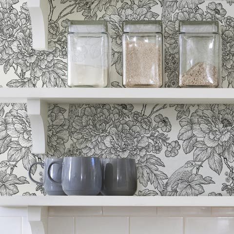 Gardena, Black & White Sudbury Peel & Stick Wallpaper