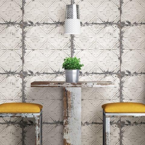 Hemet, Vintage Tin Tile Peel & Stick Wallpaper