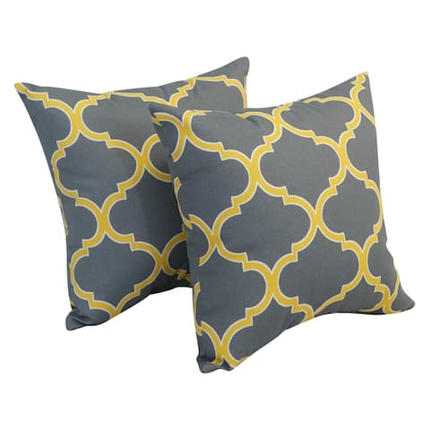 Blazing Needles 17-inch Square Outdoor Throw Pillows (Set of 2)