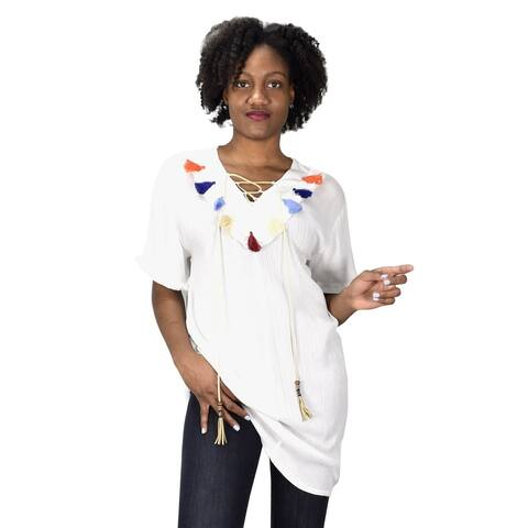 Tasseled V Neck Short Sleeves Beach Cover up Crepe Tunic Tops - One Size