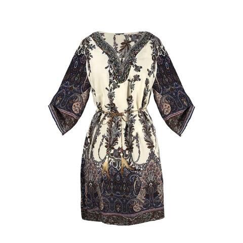 Peach Couture Beaded Gem V Neck 3/4 Sleeve Paisley Tunic Dress - S