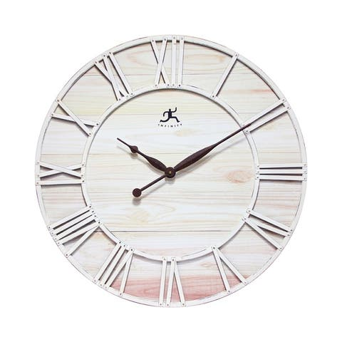 Farmhouse Fusion 28 inch White Ivory Wooden Decorative Rustic Wall Clock