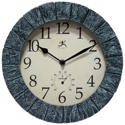 Stone 11 inch Outdoor Wall Clock Blue/Grey with Thermometer