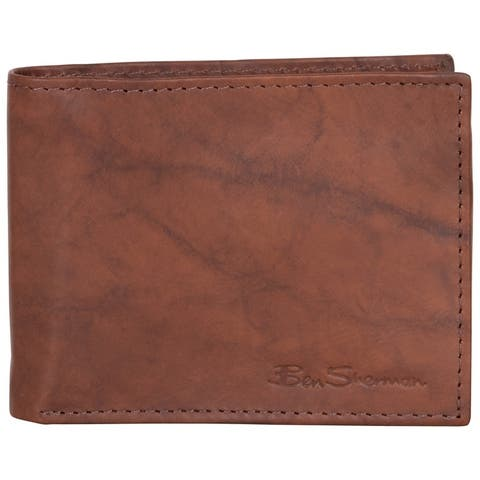 Ben Sherman Full-Grain Marble Crunch Leather Bifold Anti-Theft RFID Wallet - Multiple Colors
