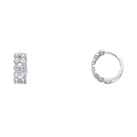 Curata 14k White Gold CZ Cubic Zirconia Simulated Diamond Hugging Earrings 11x11mm Jewelry Gifts for Women