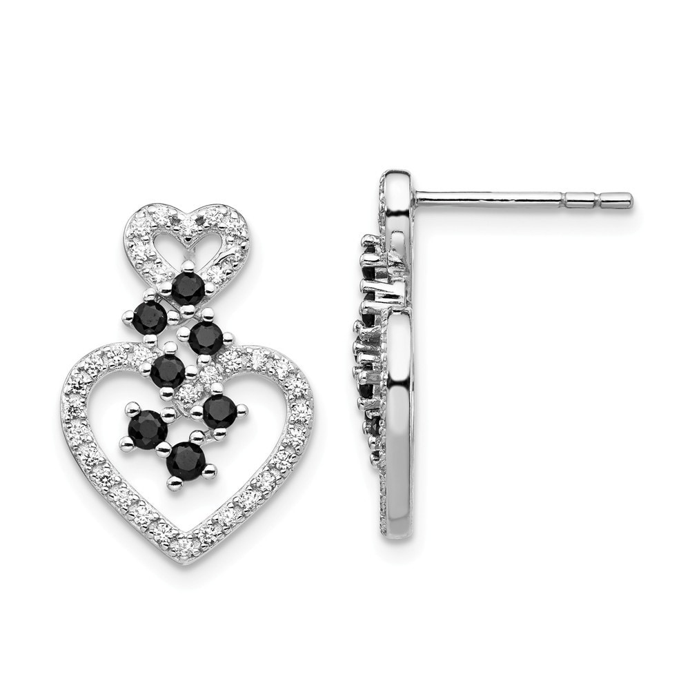 925 Sterling Silver Rhodium-plated CZ /& Spinel 2-Heart Necklace 16 Length