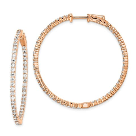 Curata 925 Sterling Silver Polished Hinged hoop Safety clasp Rose Gold Flashed Pink Plated with CZ Cubic Zirconia Simulated Diam