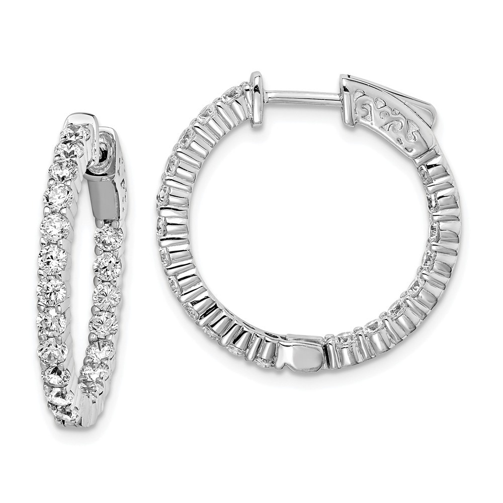 14K White Gold Plated Simulated Diamond Hoop Earrings Cubic Zirconia Channel-set Small Hoop Earrings Summer Sale