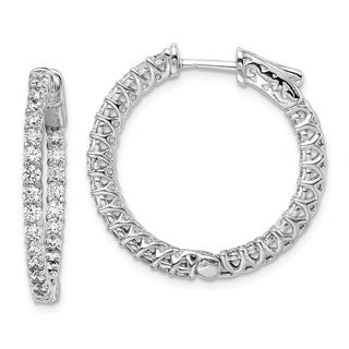 Link to Curata 925 Sterling Silver Polished Prong set Hinged hoop Safety clasp Rhodium plated CZ Cubic Zirconia Simulated Diamond Round Similar Items in Earrings