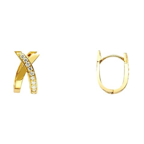 Curata 14k Yellow Gold X Design Round CZ Cubic Zirconia Simulated Diamond U sh Earrings 8x15mm Jewelry Gifts for Women