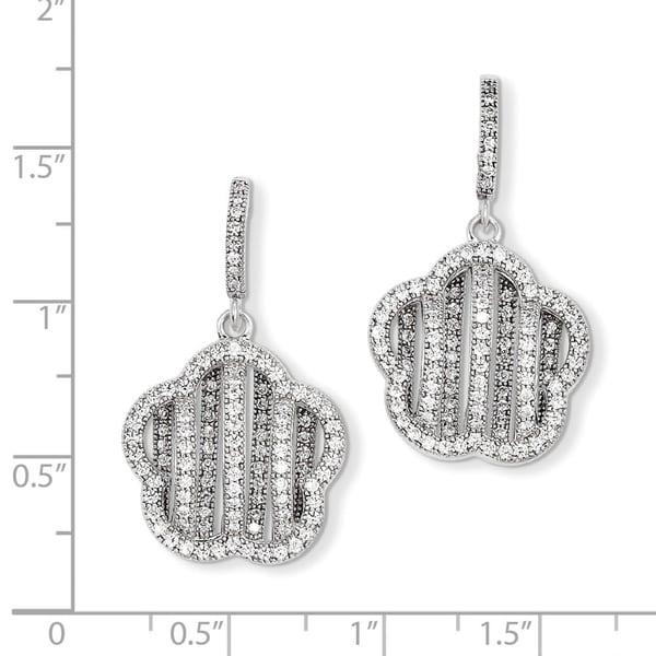 Brilliant Embers 925 Sterling Silver Rhodium-plated Black /& White CZ Teardrop Dangle Post Earrings