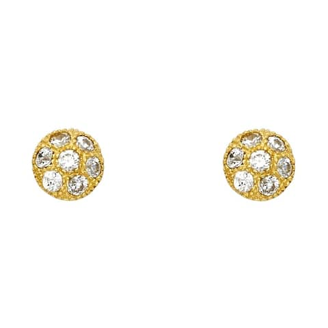 Curata 14k Yellow Gold CZ Cubic Zirconia Simulated Diamond Ball Post Earrings 10x10mm Jewelry Gifts for Women