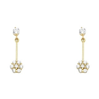 Link to Curata 14k Yellow Gold Flower CZ Cubic Zirconia Simulated Diamond Drop Dangle Screw Earrings Jewelry Gifts for Women Similar Items in Earrings