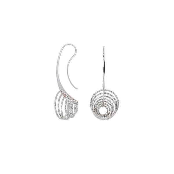 925 Sterling Silver Rhodium-plated Diamond-cut Circles Dangle Hoop Earrings