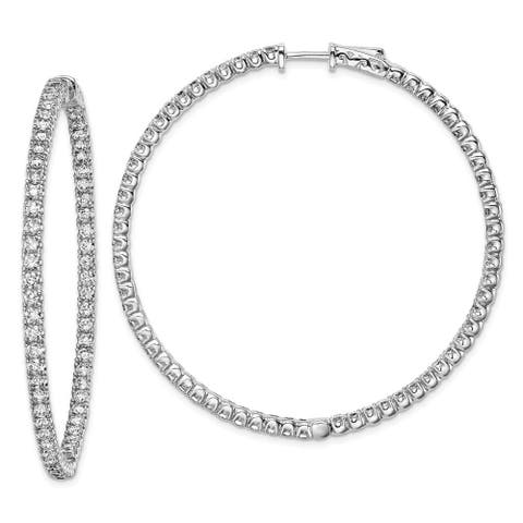 Curata 925 Sterling Silver Polished Hinged hoop Safety clasp Rhodium plated CZ Cubic Zirconia Simulated Diamond Round Hoop Earri