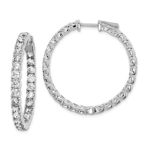 Curata 925 Sterling Silver Polished Safety clasp Rhodium plated Rhodium Plated with CZ Cubic Zirconia Simulated Diamond Hinged H
