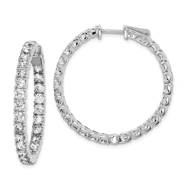 Curata 925 Sterling Silver Polished Safety clasp Rhodium plated Rhodium Plated with CZ Cubic Zirconia Simulated Diamond Hinged H. Opens flyout.