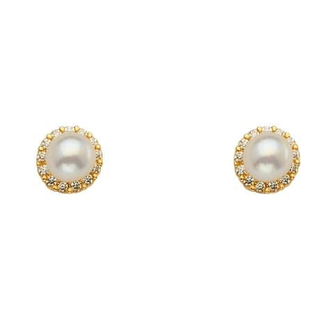 Curata 14k Yellow Gold Pearl CZ Cubic Zirconia Simulated Diamond Halo Stud Screw Earrings Jewelry Gifts for Women