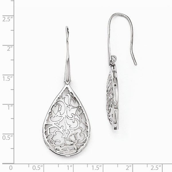 925 Sterling Silver Polished Teardrop Dangle Earrings