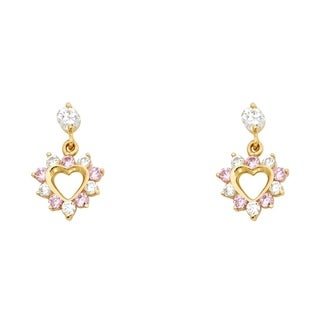 Link to Curata 14k Yellow Gold Pink CZ Cubic Zirconia Simulated Diamond Love Heart Dangle Drop Screw Earrings Jewelry Gifts for Women Similar Items in Earrings