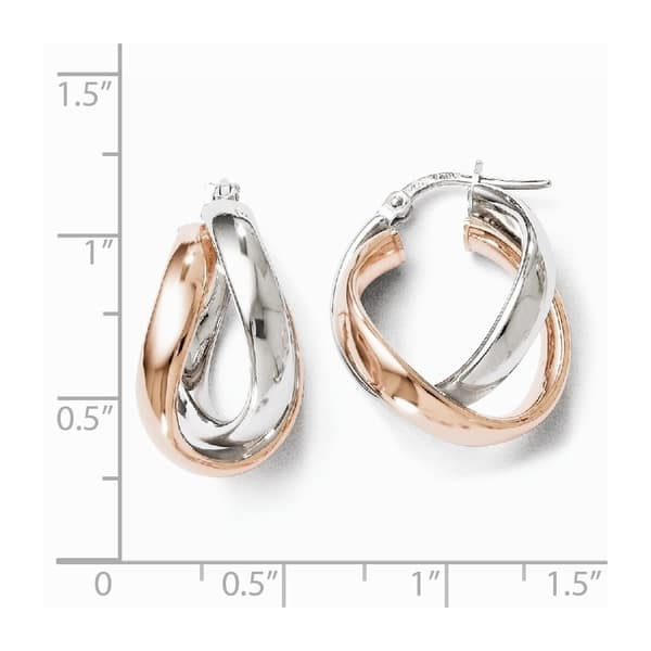 Twisted Brincos Oval Hinged Intertwined Hoops Earring 925 Sterling Silver Plated