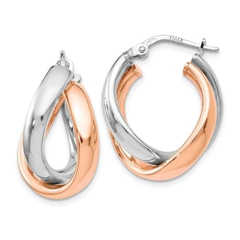 Curata 925 Sterling Silver Twisted Polished Hinged hoop Rose 14k Gold Plated Double Hoop Earrings Jewelry Gifts for Women
