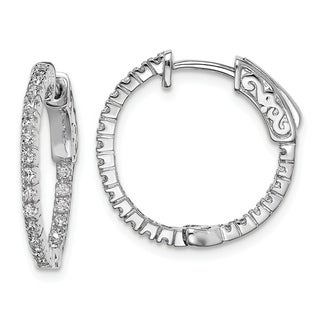 Link to Curata 925 Sterling Silver Polished Safety clasp Rhodium plated Rhodium Plated with CZ Cubic Zirconia Simulated Diamond Hinged H Similar Items in Earrings