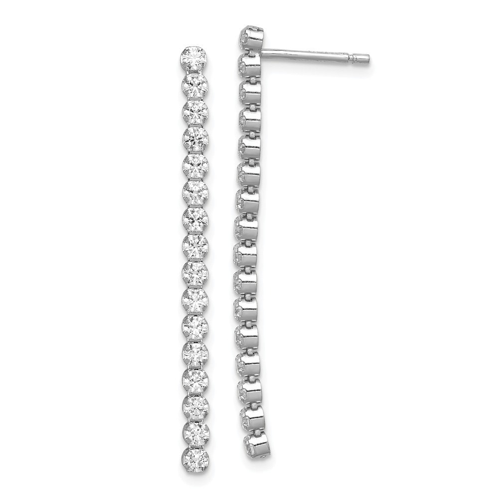 925 Sterling Silver Polished CZ Chain Dangle Post Earrings