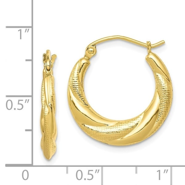 10kt Yellow Gold Twisted Hinged Hoop Earrings