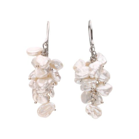 Curata 925 Sterling Silver Freshwater Keshi White Freshwater Cultured Pearl Earrings 8 9mm Jewelry Gifts for Women