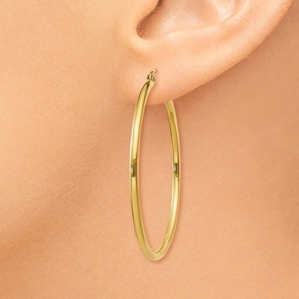 14kt Yellow Gold Polished 2mm Round Hoop Earrings