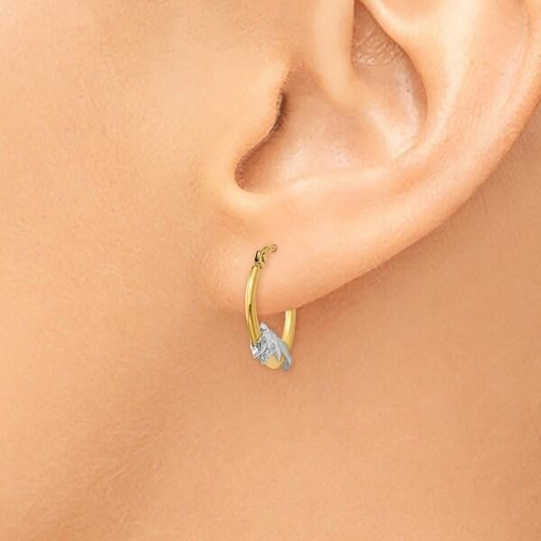 Gold Hoop Creole Earrings Hallmark Rose /& White Gold Twist Hoop Earrings 25mm