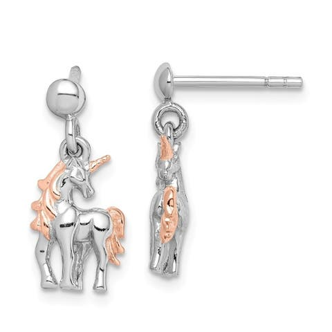 Curata 925 Sterling Silver Rhodium plated Rose Gold Flashed Unicorn Post Earrings Jewelry Gifts for Women