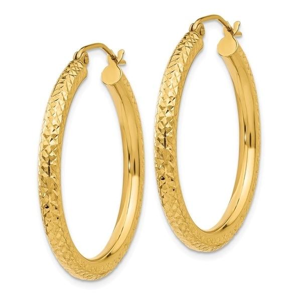 14K Yellow Gold Real Solid 3mm Diamond Cut Hoop Earrings Hinged 2.2grams 30mm