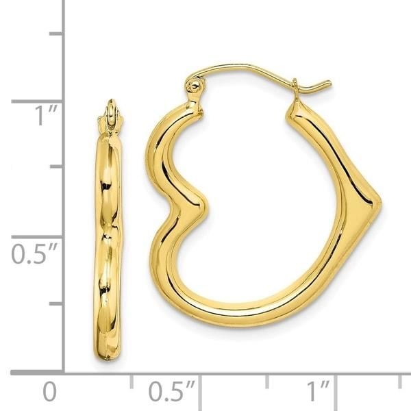 10k Gold Dolphin Heart Hollow Hoop Earrings