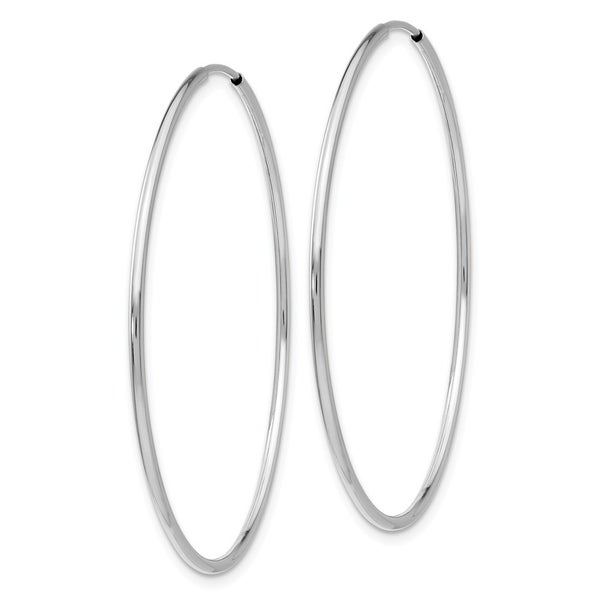 14K White Gold Polished 44mm Endless Round Hoop Earrings