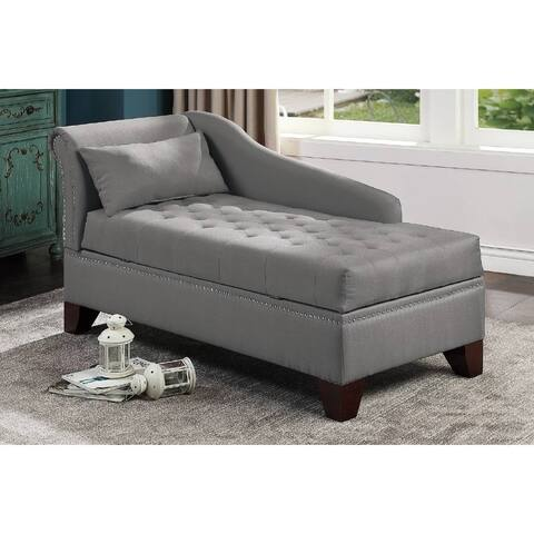 Classic Fabric Nailhead Trim Tufted Storage Chaise Lounge With Pillow