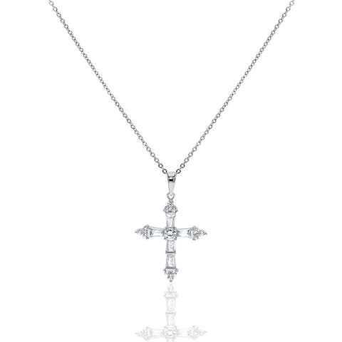 Cubic Zirconia Tapered Baguette Cut Cross Necklace