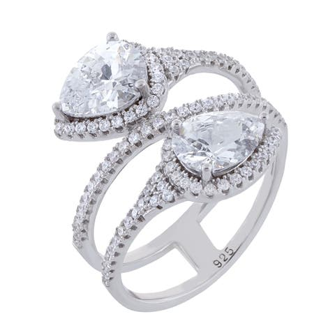Pear Shape Cubic Zirconia Bypass Design Band Ring