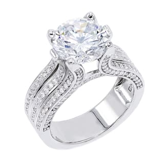 4.5 ct Round-Cut Cubic Zirconia Engagement Style Solitaire Ring