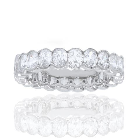 Cubic Zirconia Oval Cut Channel Set Eternirty Stackable Wedding Band