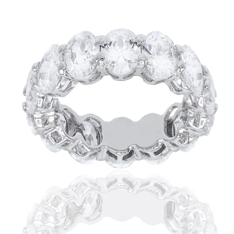 18 carat Oval Shape Cubic Zirconia Enternity Band Ring