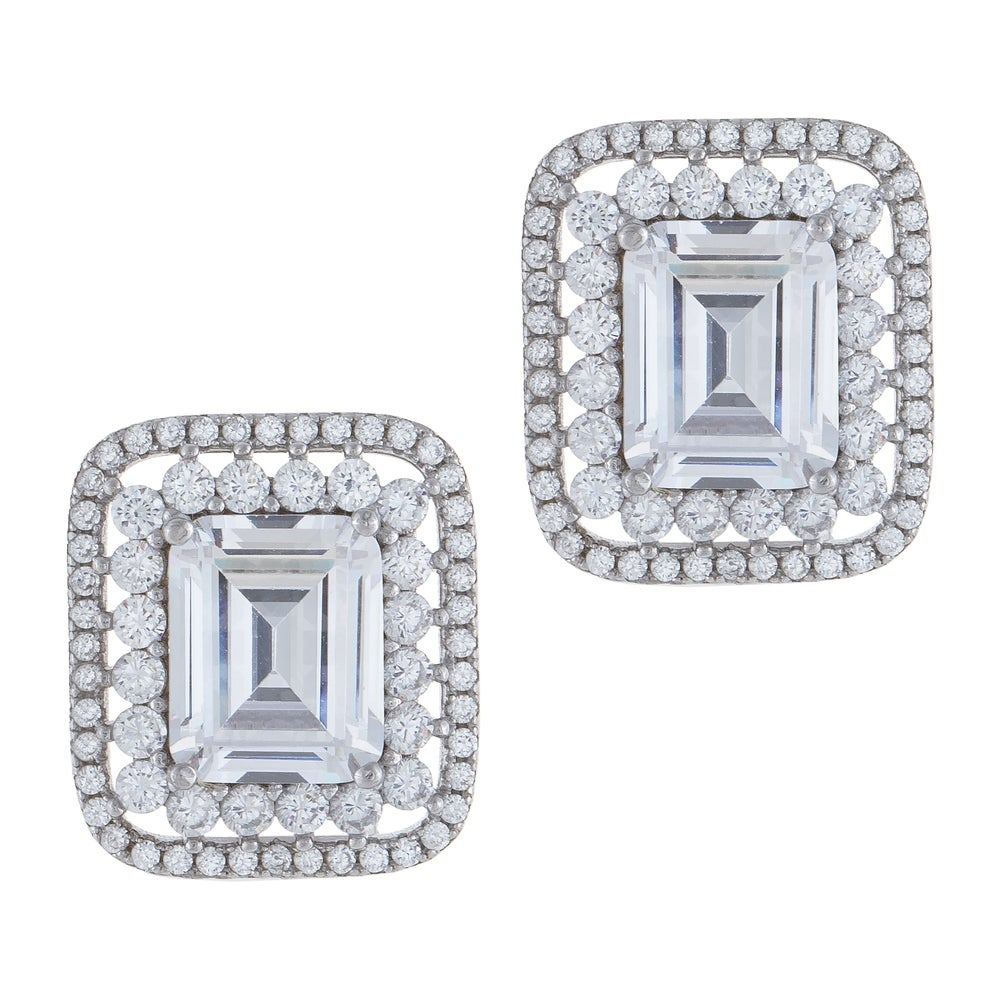 Unique 925 Sterling Silver Gold Overlay 2.00 Carat /& 3.00 Carat Combo Cubic Zirconia Princess Stud Earrings