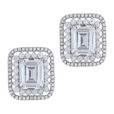 Cubic Zirconia Emerald Cut Double Halo Set Stud Earrings