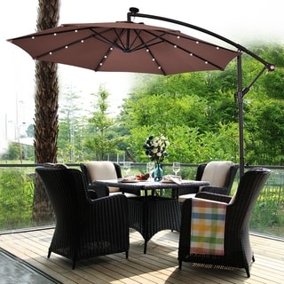 10Ft Patio Solar Umbrella Outdoor LED Sun Shade Offset W/ Cross Base
