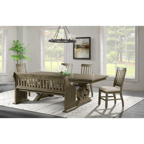 Picket House Furnishings Stanford Standard Height 6PC Dining Set-Table, Four Side Chairs & Pew Bench